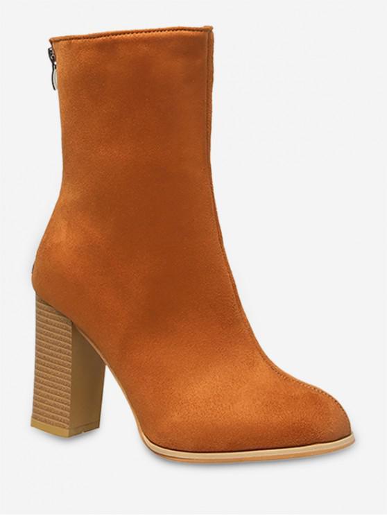 best Pointed Toe High Heel Fleece Boots - TAN EU 42