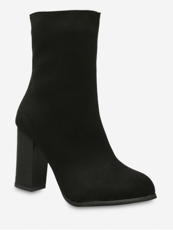 ชี้นิ้วเท้าส้นสูงบู๊ทส์ขนแกะ - สีดำ EU 37