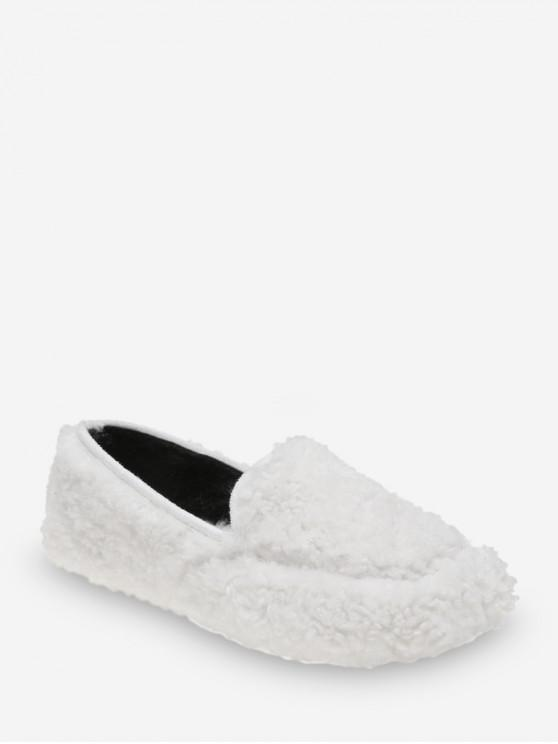 online Casual Solid Color Fuzzy Slip On Shoes - WHITE EU 35