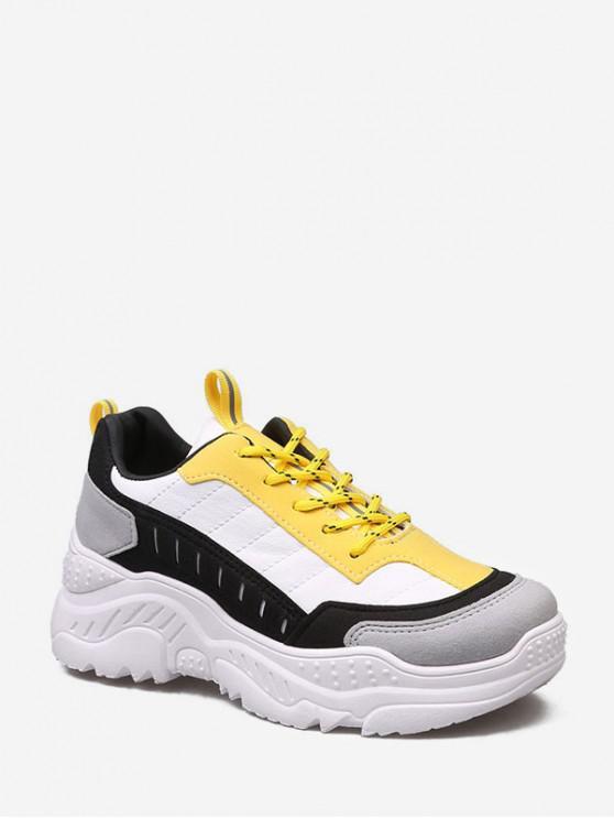 hot Color-blocking Comfortable Dad Sneakers - YELLOW EU 41