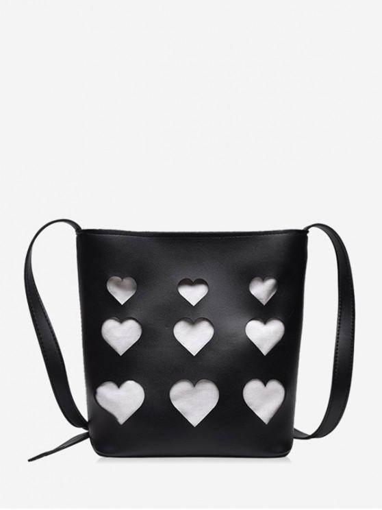 lady Hollowed Heart Shape Tote Bag - BLACK