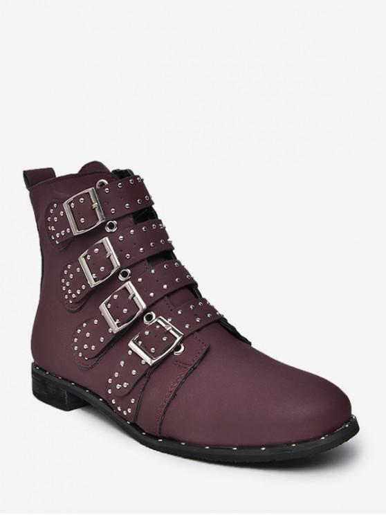 online Multi Buckle Studded Ankle Boots - RED WINE EU 39