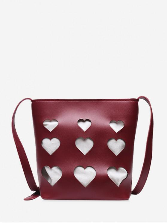 shop Hollowed Heart Shape Tote Bag - RED WINE