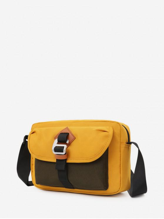 latest Nylon Jointed Zipper Shoulder Bag - BEE YELLOW