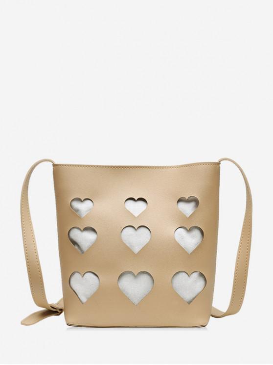 fancy Hollowed Heart Shape Tote Bag - TAN BROWN