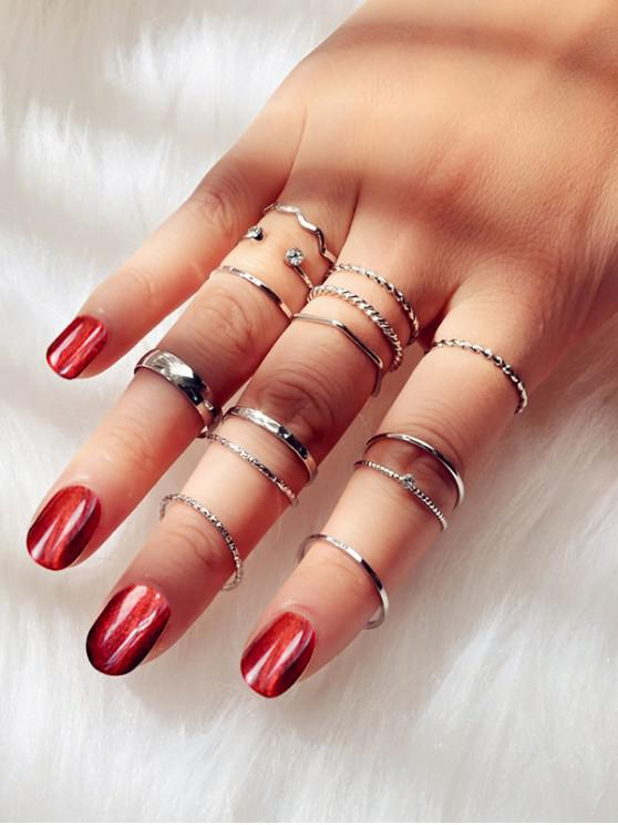 trendy 14Pcs Brief Twist Alloy Ring Set - SILVER