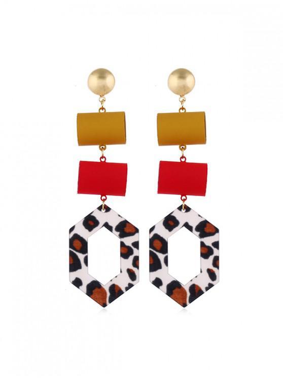 sale Leopard Geometric Hollow Drop Earrings - MULTI