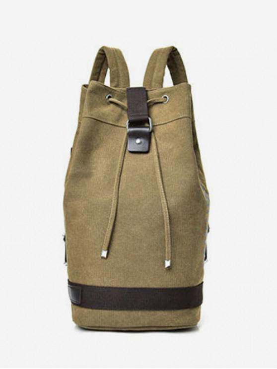 buy Travel Character Bucket Casual String Canvas Backpack - KHAKI