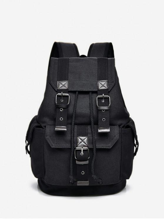 ladies Buckle Strap Drawstring Large Capacity Backpack - BLACK