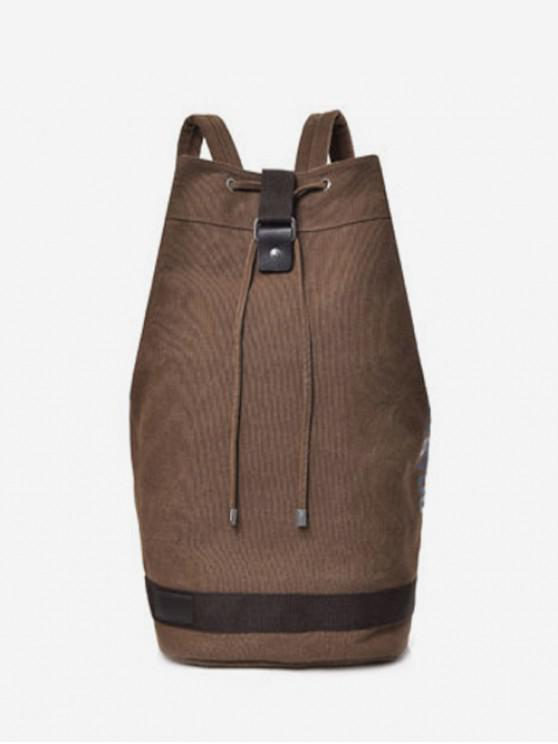 hot Travel Character Bucket Casual String Canvas Backpack - COFFEE