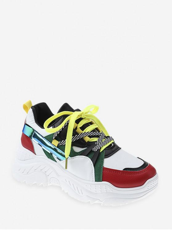 Zapatos de Deporte Plataforma de Bloqueo de Color - Amarillo Verde EU 37