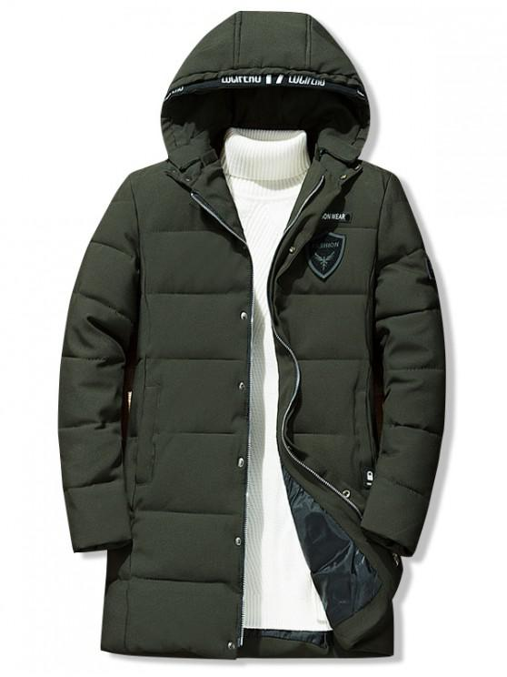 buy Letter Icon Pattern Hooded Quilted Coat - ARMY GREEN XS