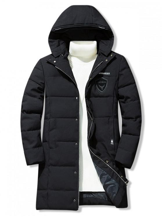 new Letter Icon Pattern Hooded Quilted Coat - BLACK XS