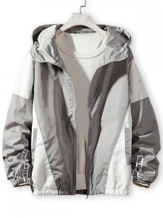 women's Colorblock Splicing Letter Print Hooded Jacket - GRAY M