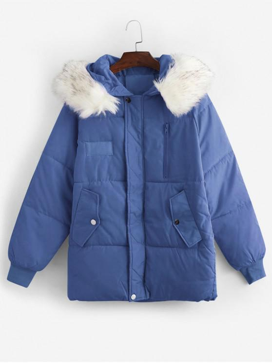 shop Flap Pocket Puffer Coat with Faux Fur Hood - BLUE XL
