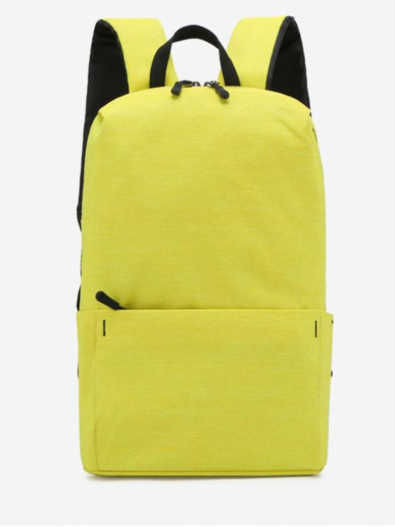 hot Plain Lightweight Nylon Travel Backpack - YELLOW