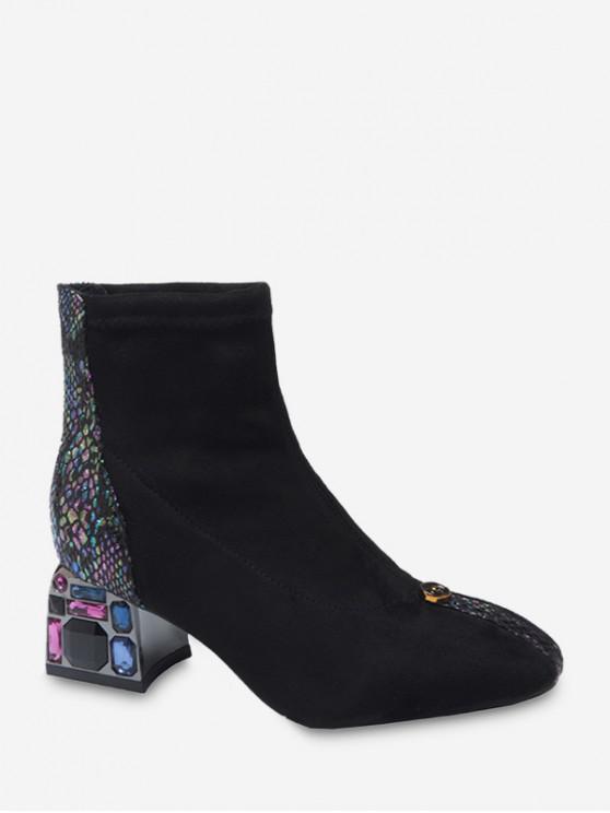 women Snakeskin Panel Rhinestone Chunky Heel Boots - BLACK EU 39