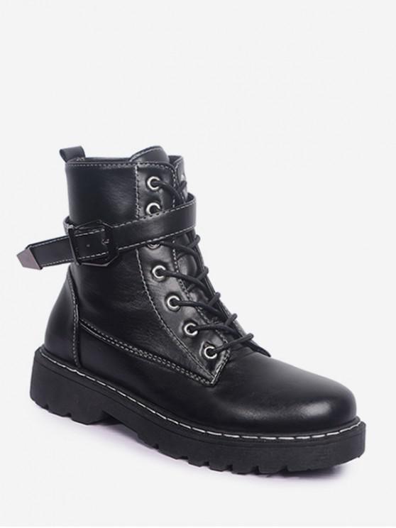 buy Buckled PU Leather Fleece Cargo Boots - BLACK EU 35