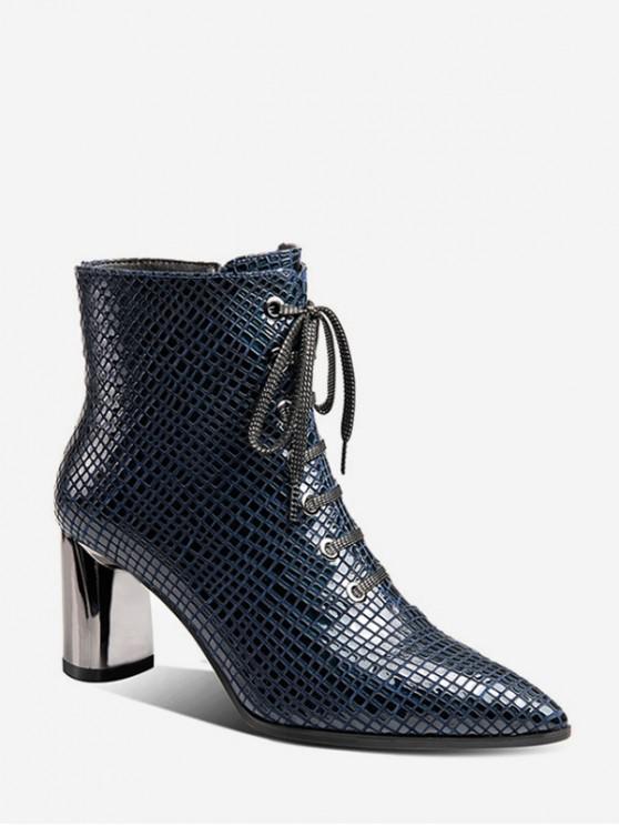 women Snakeskin Embossed Pointed Toe Short Boots - PEACOCK BLUE EU 39