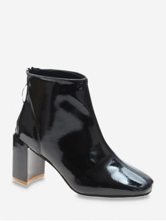 O型圈拉方頭鞋PU皮革長靴 - 黑色 歐盟37