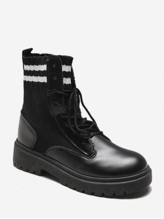 shops Striped Trim PU Leather Ankle Boots - BLACK EU 35