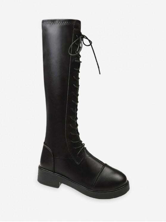 online Lace Up Knight Knee High Boots - BLACK EU 35