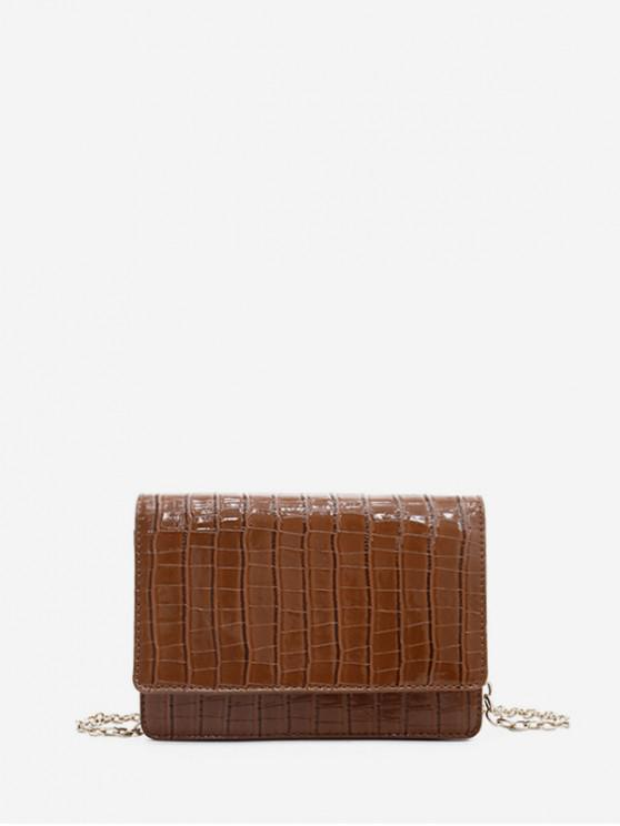 affordable Chain Square PU Shoulder Bag - BROWN