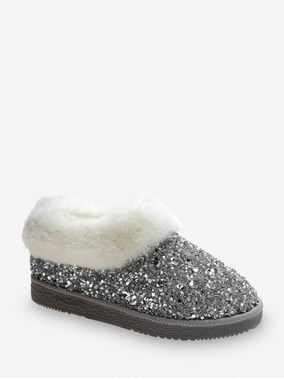 buy Faux Fur Sequined Snow Boots - SILVER EU 38