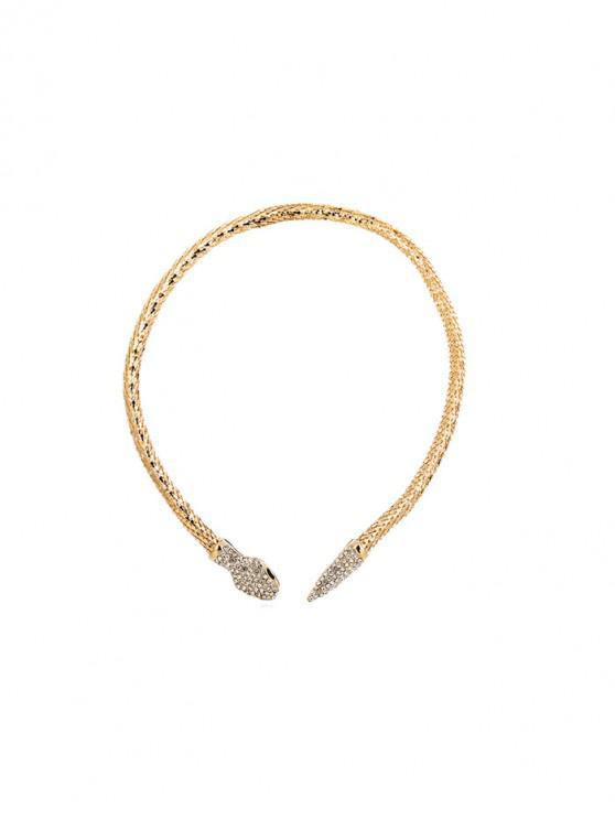 ladies Snake Shape Rhinestone Necklace - GOLD