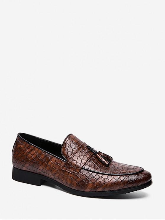 fancy Solid Animal Embossed Slip On Work Shoes - BROWN EU 42