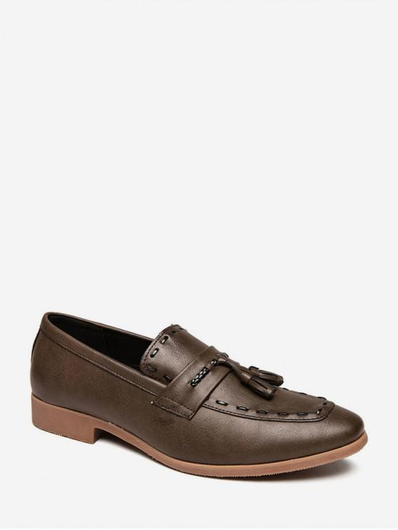 new Fringe Accent Slip On Work Shoes - BROWN EU 39