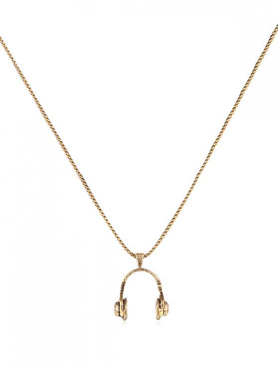 chic Hip Hop Headphone Pendant Metal Necklace - GOLD REGULAR