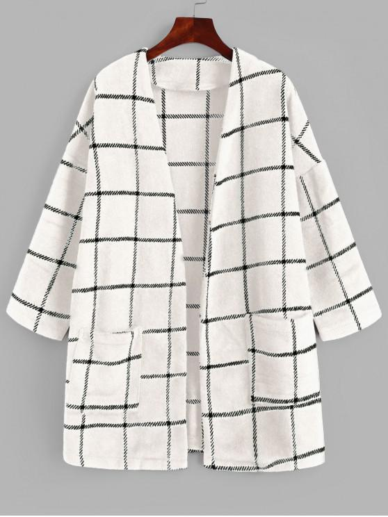 women's ZAFUL Patched Pockets Open Front Plaid Longline Coat - WHITE S