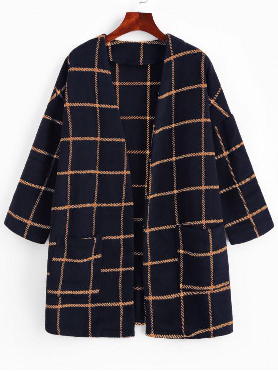 lady ZAFUL Patched Pockets Open Front Plaid Longline Coat - BLUE L