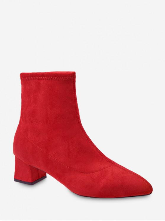 latest Plain Slim Pointed Toe Suede Ankle Boots - CHESTNUT RED EU 35