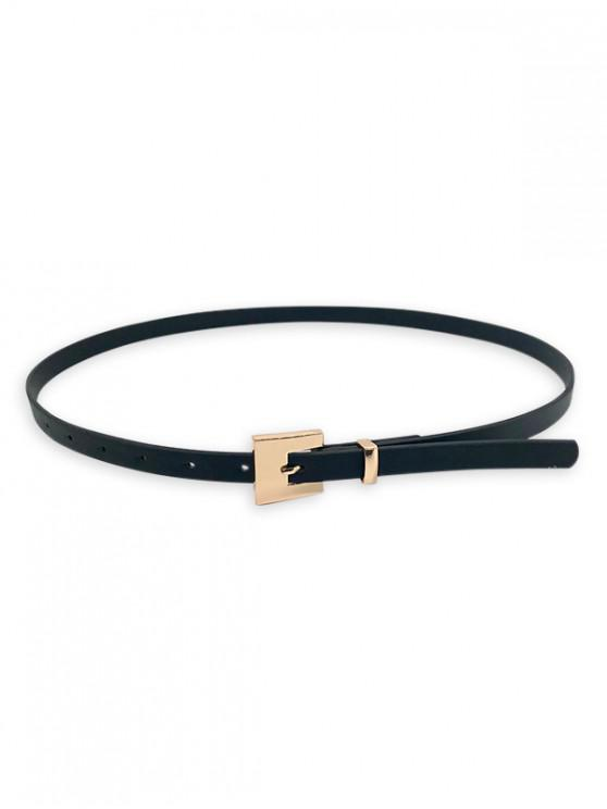 womens Thin Square Buckle Decorative Belt - BLACK