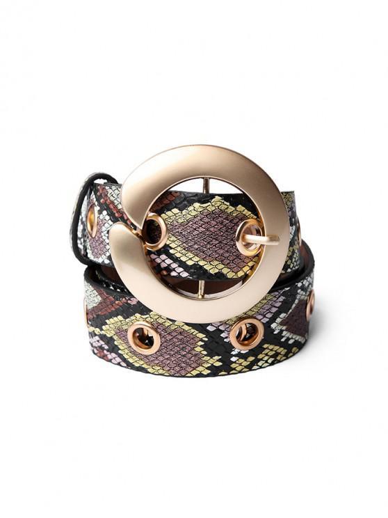 shops Round Buckle Snakeskin Pattern Belt - GOLDENROD
