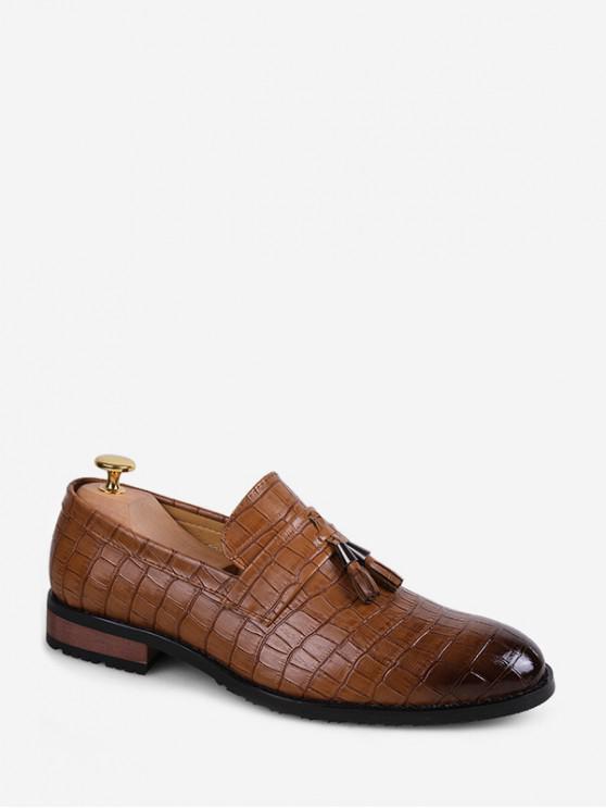 С бахромой Животная Рельефная Обувь Без шнуровки - Коричневый ЕС 38