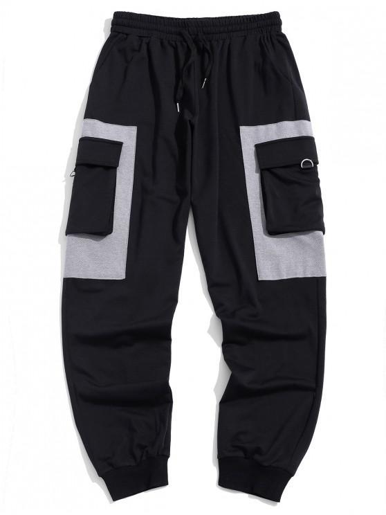 Contraste emendado lado da aba de bolso com cordão Jogger Pants - Preto 2XL