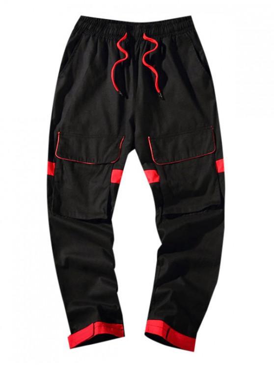 Pantalon Décontracté en Blocs de Couleurs Décoré de Poche - Noir 3XL