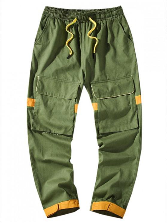 women's Pocket Decoration Colorblock Casual Pants - ARMY GREEN XL