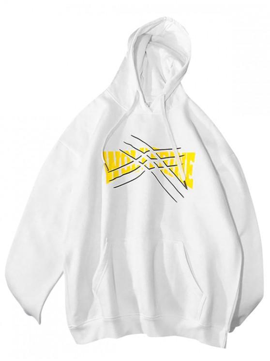 ladies Graphic Printed Kangaroo Pocket Hoodie - WHITE M