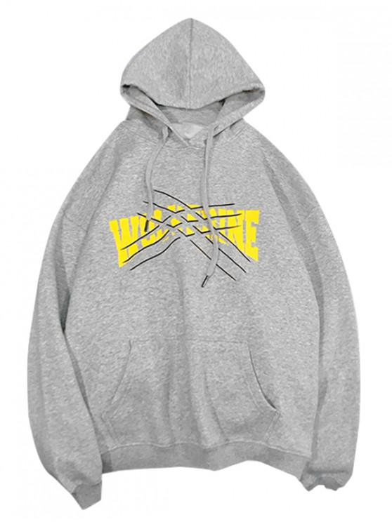 trendy Graphic Printed Kangaroo Pocket Hoodie - GRAY CLOUD 3XL