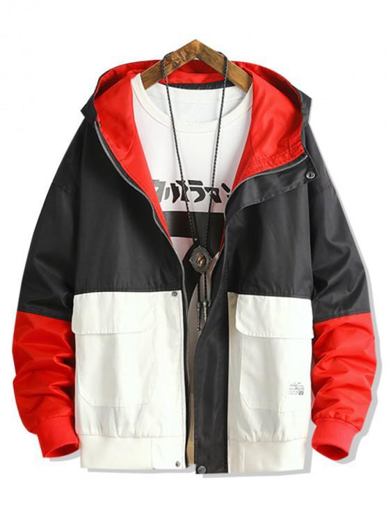 shops Color Blocking Panel Casual Hooded Jacket - BLACK 2XL