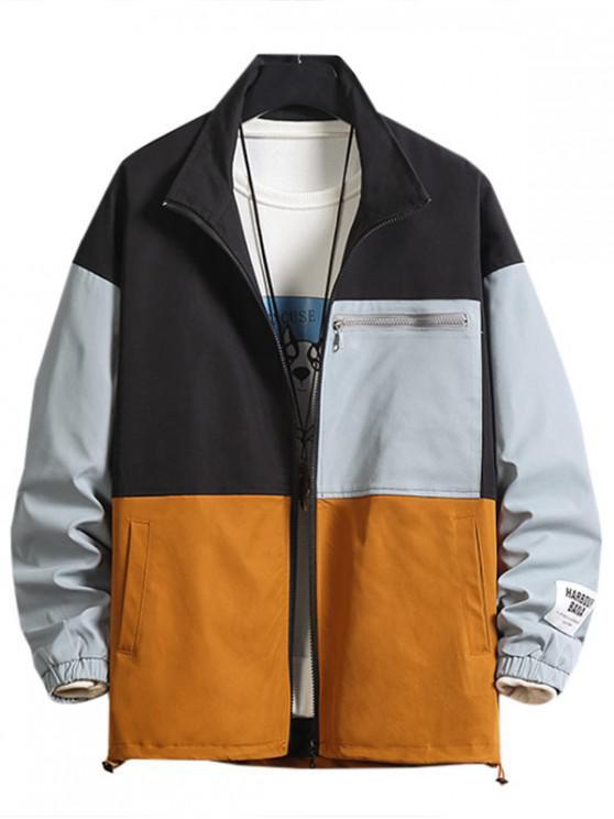 Farbblock Spleißen Applikationen Jacke - Schwarz 4XL