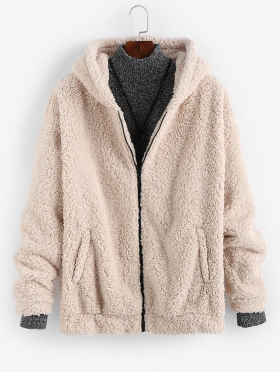 women ZAFUL Solid Faux Fur Teddy Hooded Jacket - APRICOT 2XL