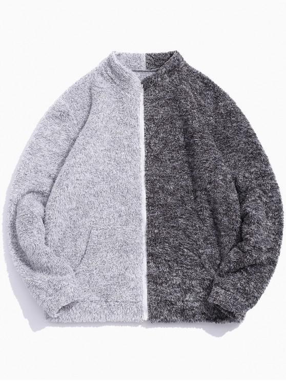 shop ZAFUL Faux Fur Two Tone Spliced Fluffy Jacket - MULTI 2XL