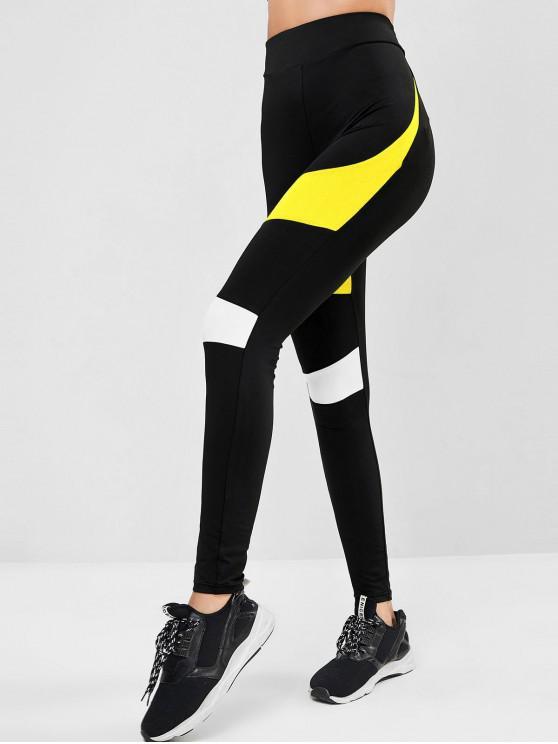 trendy ZAFUL Colorblock High Waist Sports Leggings - MULTI-B M