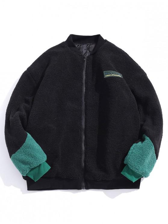 online Letter Embroidered Fluffy Padded Jacket - BLACK M