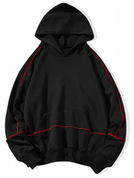fancy Contrast Stripe Drawstring Casual Hoodie - BLACK 2XL